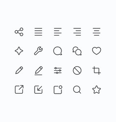 Outline icons for web and mobile thin 2 pixel vector