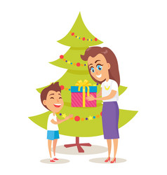 parent giving present to son vector image