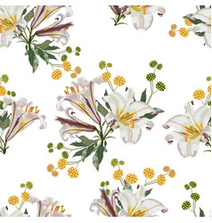 pattern with white lilies flowers and yellow herbs vector image