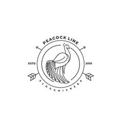 Peacock line art template vector