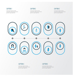 people colorful icons set collection of business vector image