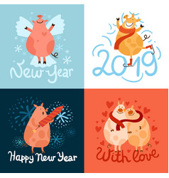 piggies new year design concept vector image