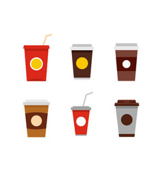plastic cup icon set flat style vector image