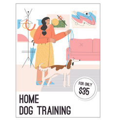 Poster home dog training concept vector