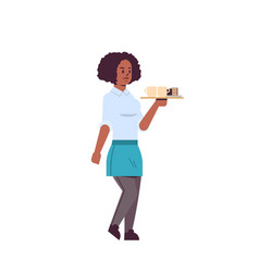 Professional waitress holding coffee and cake on vector