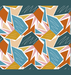 retro geometric seamless pattern trendy palm leaf vector image