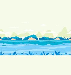 River flow game background flat landscape vector