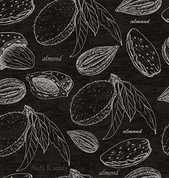 Seamless pattern with almonds on black background vector