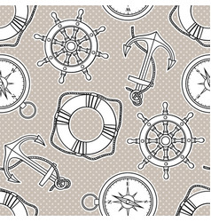 seamless pattern with anchors lifebuoies ships vector image