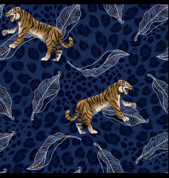 seamless pattern with tigers and leaves vector image