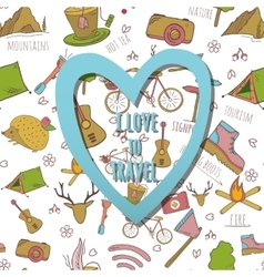 seamless pattern with travel elements vector image