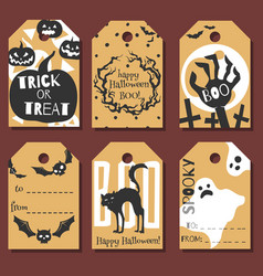 Set of happy halloween gift tags vector