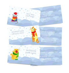 Set of winter seasonal theme business cards vector