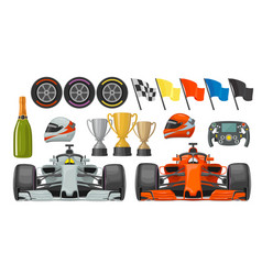 Set race flat icons helmet champagne cup flag vector
