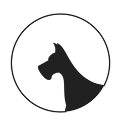 Silhouette of a dog head great dane vector image