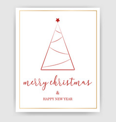 simple merry christmas background with greeting vector image