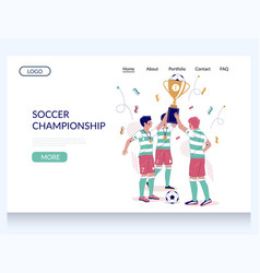 soccer championship website landing page vector image