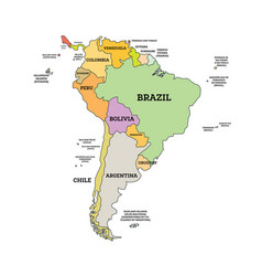 South america political map map with name vector