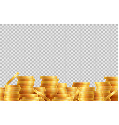 stacks coins lot golden coins isolated vector image