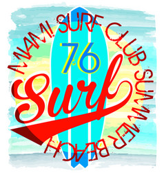 surf t-shirt graphics typography pacific vector image