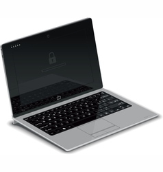 Tablet left side view with silver keyboard dock vector