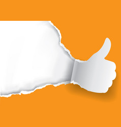 Thumbs up ripped orange paper background vector
