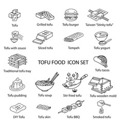tofu dishes icon set vector image