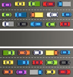Traffic jam on the road with cars on gray vector