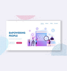 User manual website landing page people with some vector
