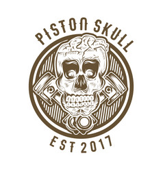 Vintage skull with crossed piston vector