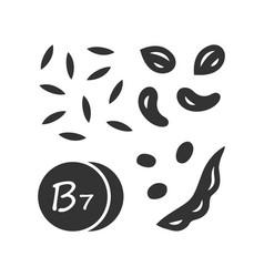 Vitamin b7 glyph icon almonds and peanuts nuts vector