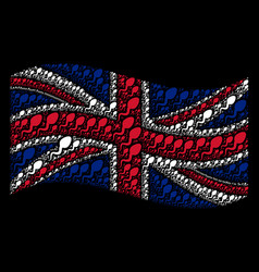 Waving united kingdom flag mosaic of spermatozoon vector