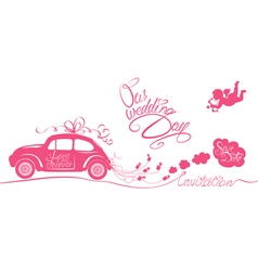Wedding car invitation 380 vector