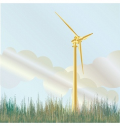 Wind turbine in field vector