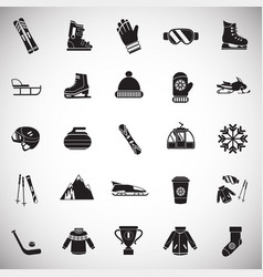 winter sport and entertainment set on white vector image