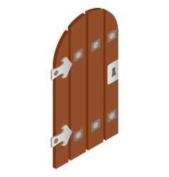 Wooden door with forged hinges icon vector