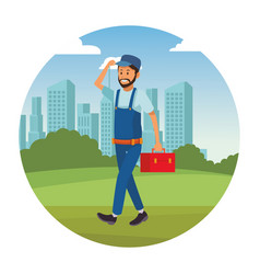 Worker with toolbox vector