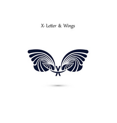 x letter sign and angel wings monogram wing logo vector image
