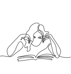 Young woman reading book vector