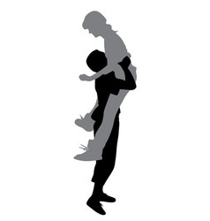boyfriend lifting his girlfriend up vector image vector image
