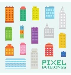 Pixel art isolated buildings set vector image vector image