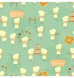 Seamless Food Background with Fun Chefs vector image