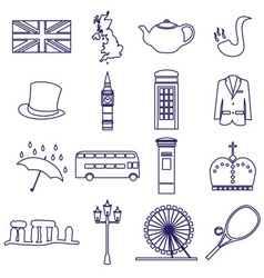 United Kingdom country theme outline icons set vector image