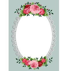 vintage roses oval frame vector image vector image