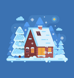 winter mountain log cabin vector image