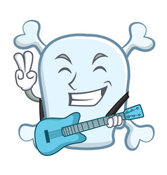 with guitar skull character cartoon style vector image