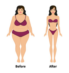 woman before and after weight loss vector image vector image