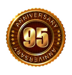 95 years anniversary golden brown label vector image vector image