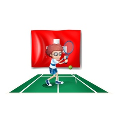 A boy playing tennis in front of the Switzerland vector image vector image