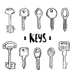 house and car key doodles of hand drawn keys vector image